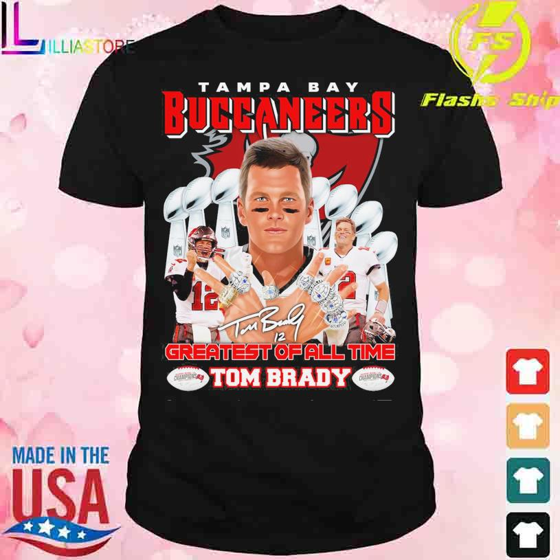 Tampa Bay Buccaneers Greatest of all time Tom Brady 12 signature shirt